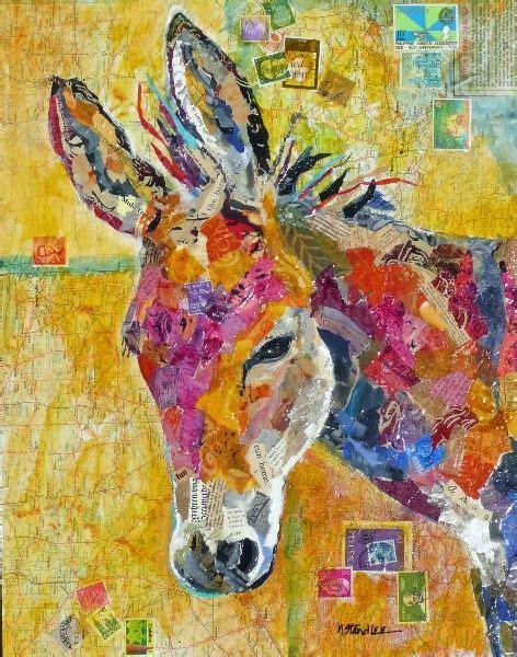 donkey collage denas daisy painting art general