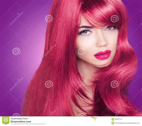 Red Long Glossy Hair Beautiful Fashion Woman Portrait