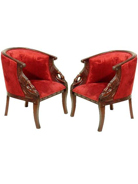 2 fauteuils gondole style napolon col de cygne acajou