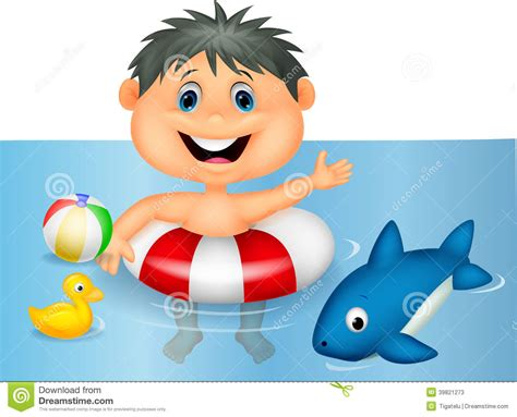 Boy Cartoon Floating With Inflatable Ring Stock Vector