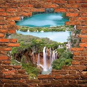 Mur Trompe L Oeil : sticker mural trompe l 39 oeil mur de pierre rivi re cascades stickers autocollants ~ Melissatoandfro.com Idées de Décoration