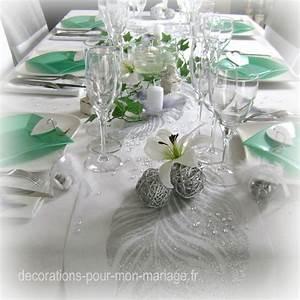 Decoration De Table De Mariage : chemin de table blanc avec plume pas cher pour deco table ~ Melissatoandfro.com Idées de Décoration