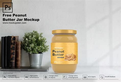 This mockup is available for purchase on yellow images only. Free Peanut Butter Jar Mockup PSD Template - Mockup Den