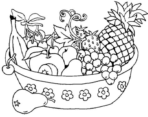 Assorted Fresh Fruit In The Basket Coloring Pages