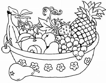 Fruit Coloring Basket Pages Printable Drawing Baskets