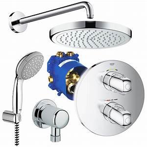 Unterputz Thermostat Dusche : grohe hansgrohe unterputz duschsystem mit kopfbrause grohtherm thermostat set ebay ~ Frokenaadalensverden.com Haus und Dekorationen