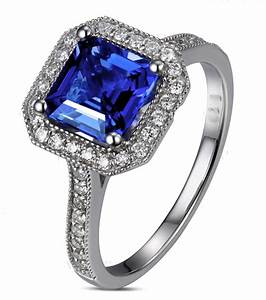antique 1 carat princess cut sapphire and diamond With saphire wedding ring