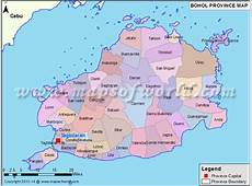 Map of Bohol Province, Philippines showing the