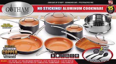 gotham steel  piece pots  pans set cookware set  nonstick ceramic coating includes