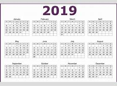 Free Printable Calendar 2019 Word Template with Month