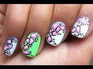Neon stones nail art design video tutorial pink white