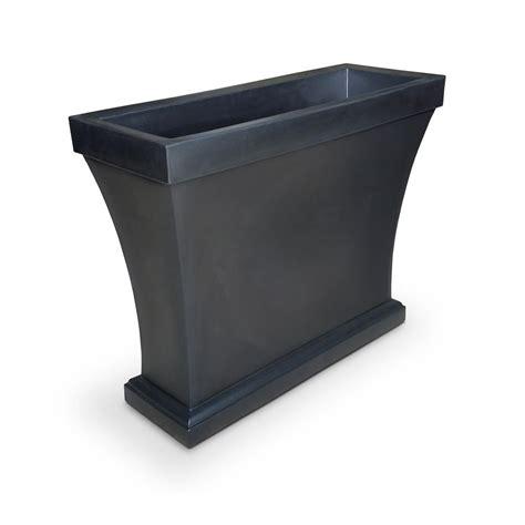 black plastic planters mayne cape cod 24 in x 11 in black plastic planter 4839