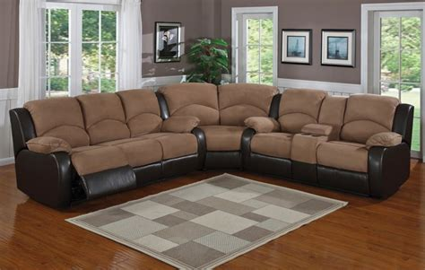 Microfiber Sectional Sofas With Recliners Modern Leather
