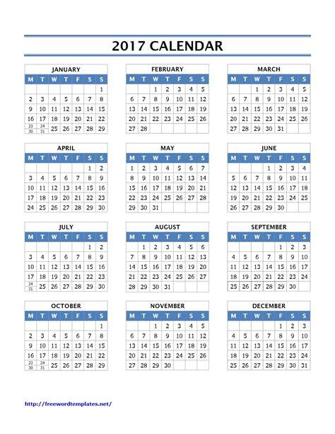 2017 calendar template word calendar archives freewordtemplates net