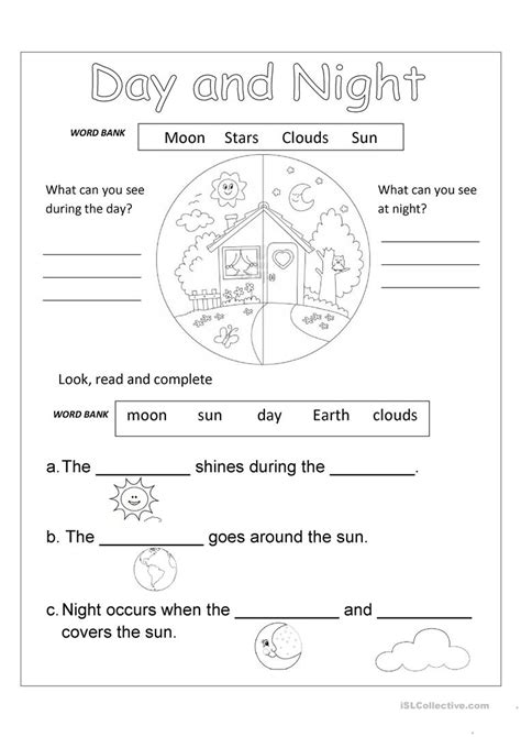 day night worksheets