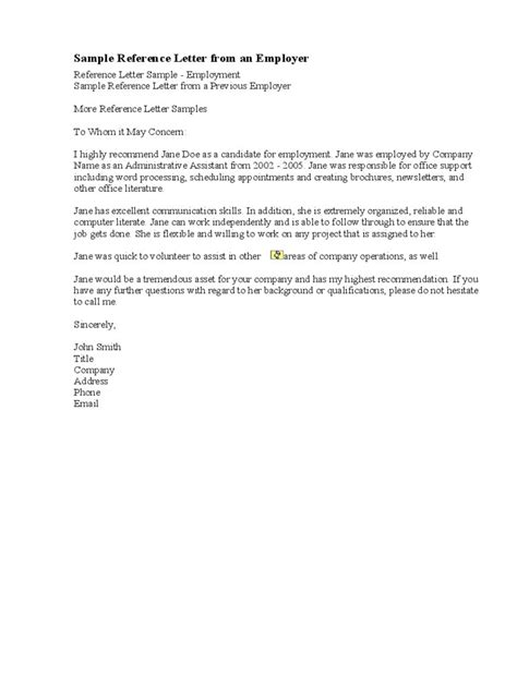 reference letter  employment examples  examples