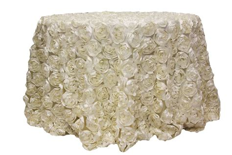 """Satin Rosette on Mesh 120"""" Round Tablecloth Ivory"""