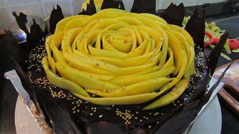 mango slice flower cake chocolate flavor cake egg