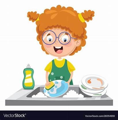 Dishes Washing Clipart Child Kid Vectorstock Cartoon