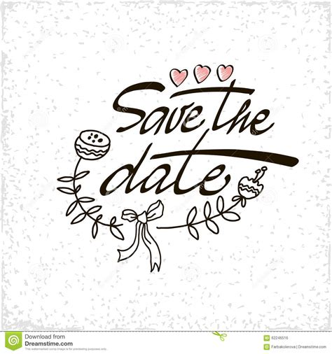 Save The Date Hand Lettering Vector Handmade Stock Vector