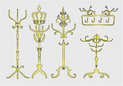Vector Coat Gold Stand Hand Ornamental Drawn