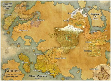 map  tamriel   elder scrolls  video game