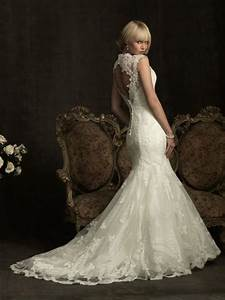 elegant lace mermaid wedding dress ivory lace open back With open back mermaid wedding dresses
