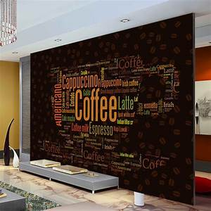 Coffee Letters Wallpaper Custom 3D Wall Mural Fashion ...