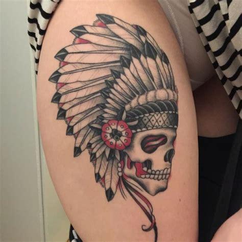 feather skull indian tattoo  tattoo ideas gallery