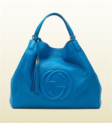 gucci soho riviera blue colour leather shoulder bag  blue lyst