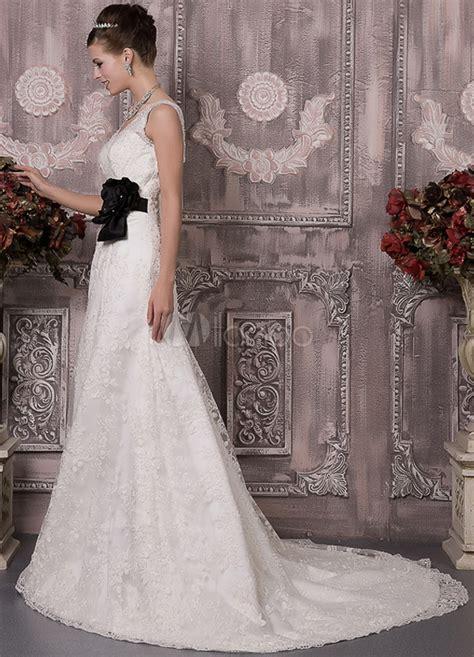 ivory satin lace   flower decoration wedding dress milanoocom