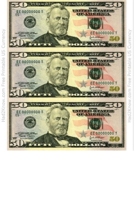 fifty dollar bill template front printable
