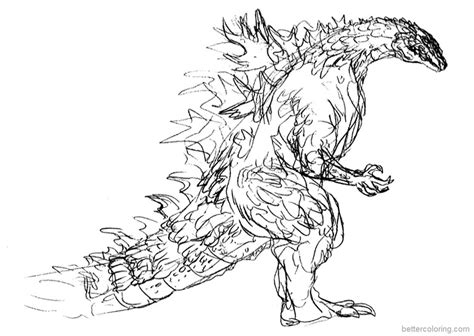 godzilla coloring pages hand drawing  printable
