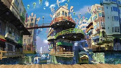 Anime Street Town Colorful Buildings Sky Wallpapers
