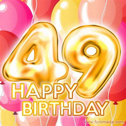 Birthday 49th Happy Gifs Animated Balloons Number