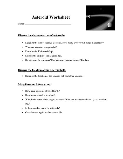 11 Best Images of Asteroids Comets And Meteors Worksheet ...