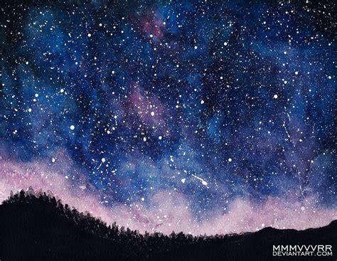 image gallery night sky watercolor painting