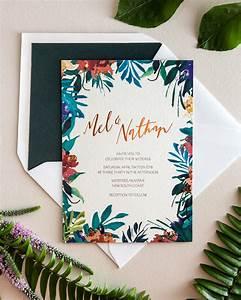 tropical garden party copper foil wedding invitations With tropical wedding invitations australia