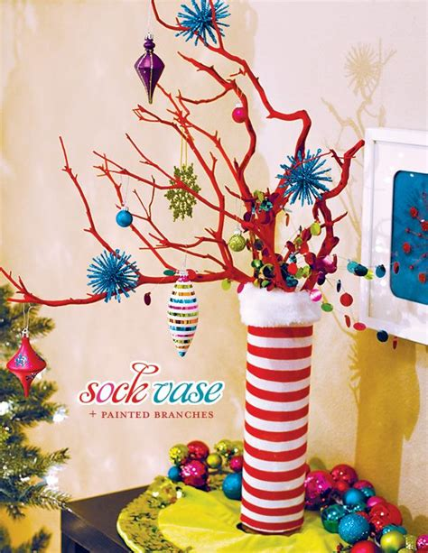 sock vase painted branches  seuss style christmas