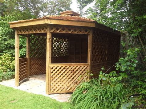 gazebo wooden shingled pitch roof wooden gazebo joiner southport