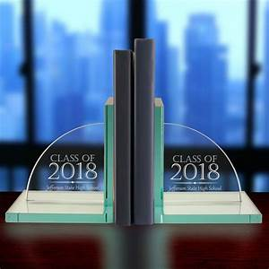 Personalized, Jade, Glass, Graduation, Bookends