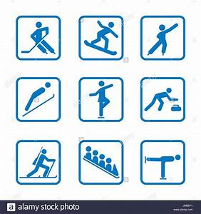 Winter sport icon Set. Winter Olympic club signs, fitness ...