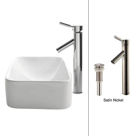 kraus rectangular ceramic vessel sink in white with sheven