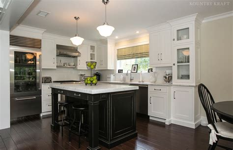 black kitchen island  white cabinets  chatham nj