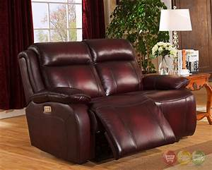 Faraday power recline 3pc sofa set in deep red real for Deep red sectional sofa