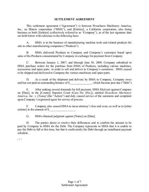 settlement agreement template settlement agreement