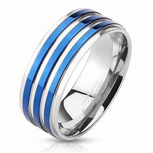 new solid stainless steel blue ip striped groove wedding With blue steel wedding rings
