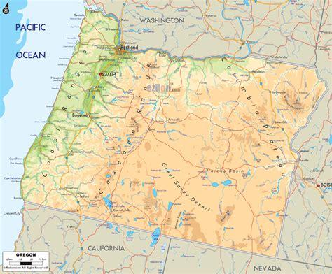 physical map  oregon ezilon maps