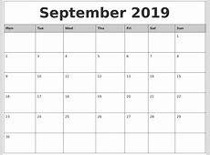 September 2019 Printable Calendar calendar for 2019