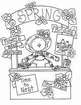Spring Digi Coloring Stamps Primitive Birdie Booth Deariedollsdigis sketch template